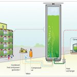 Green building use algae-covered walls facades for heating