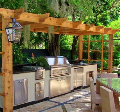 L Shaped Outdoor Kitchen Design