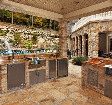 Outdoor Kitchen With Stone Flooring