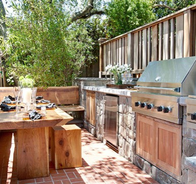 Outdoor kitchen design with seating arrangement