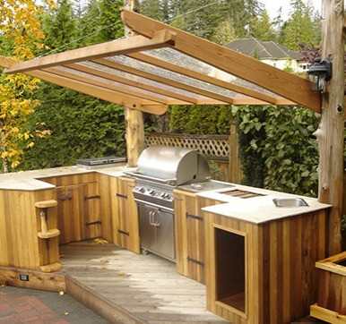 Outdoor Kitchen Design with Shelter
