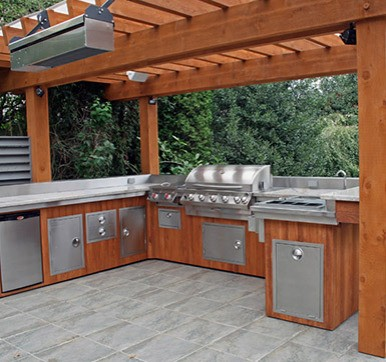 Wooden Outdoor Kitchen With Steel Components