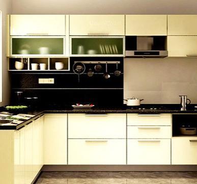 Modular Kitchen with Stylish Cabinets