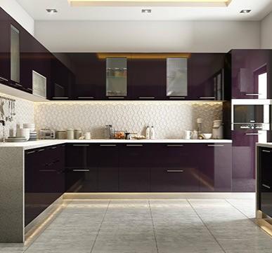 L Shaped Modular Kitchen With Stylish Drawer System