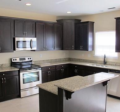 Modular Kitchen With Dark Wooden Cabinets