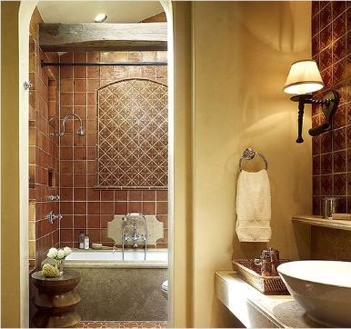 Terracotta bathroom tile design ideas