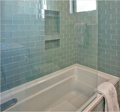 Glass bathroom tile design ideas