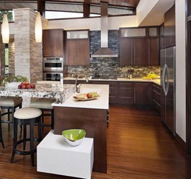 Open Modular Kitchen Design with Lightings
