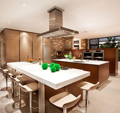Open Modular Kitchen Design With Dining Table