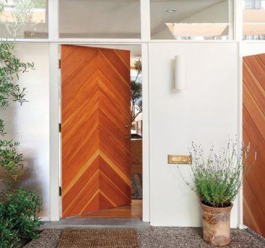 Chevron wooden main door designs