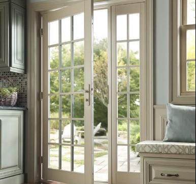 uPVC Glass Casement Door Design for Modular Kitchen