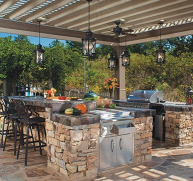 Outdoor Stone Kitchen with Shelter
