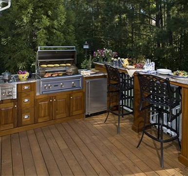 Outdoor Kitchen With Wooden Flooring