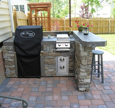 Small Outdoor Kitchen Attached to Main House