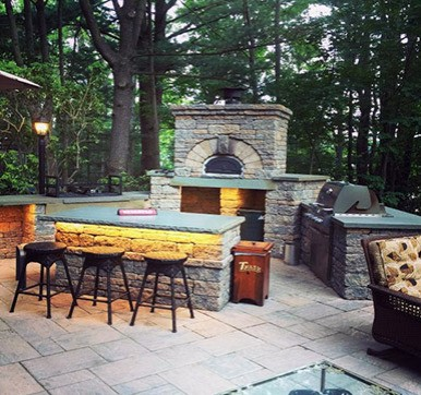 Outdoor Kitchen With Bar Counter