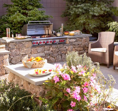 Outdoor Kitchen With Greenery