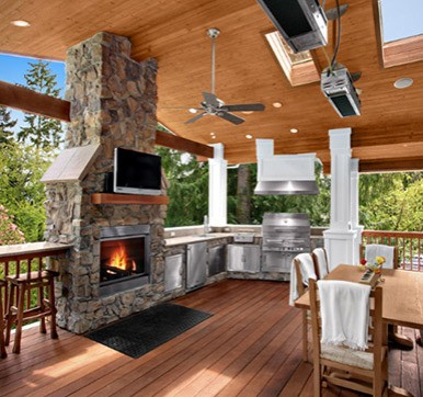Outdoor kitchen design with dining area