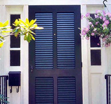 Slated entrance doors