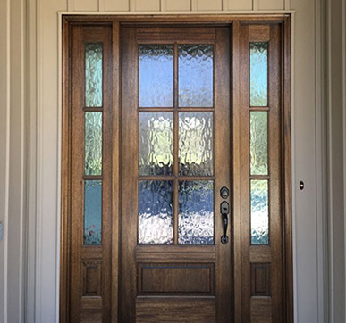 Vintage style glass and wood panelled door