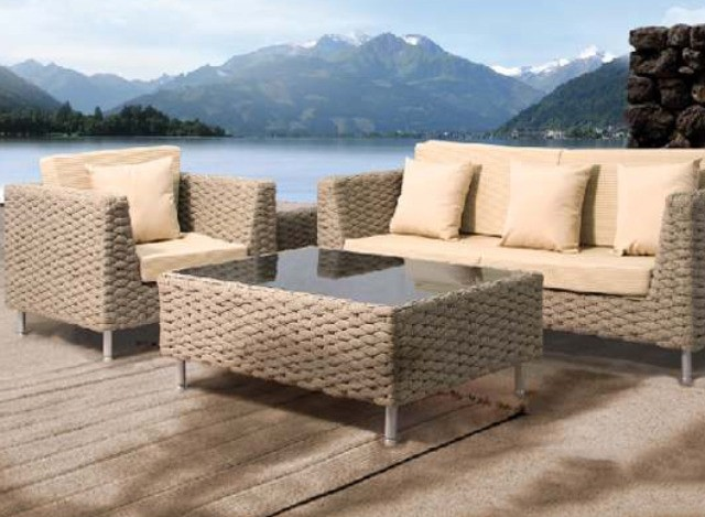 Three Seater Sofa with Single Seat Couch & Coffee Table LCBR002 by Loom Crafts Furniture