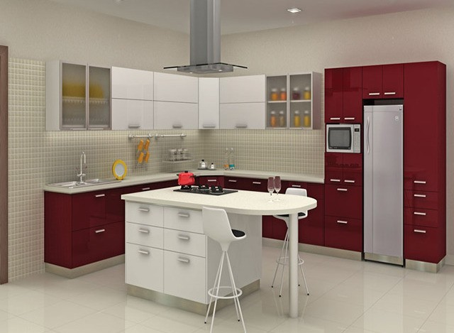 L-shaped Steel Kitchens by Godrej Interio