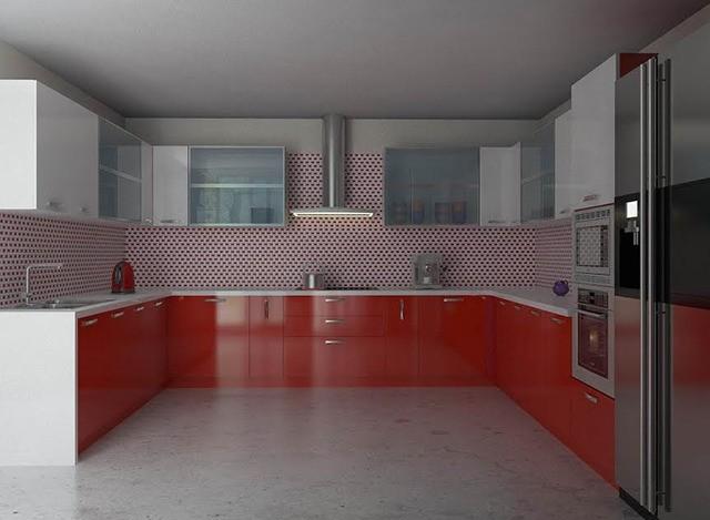 Acrylic U Shaped Modular Kitchen by Myfurnituremyway