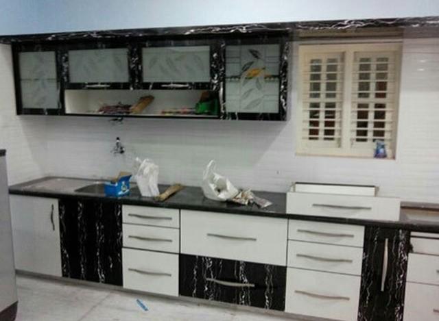 PVC Membrane Modular Kitchen by Krishna Furniture