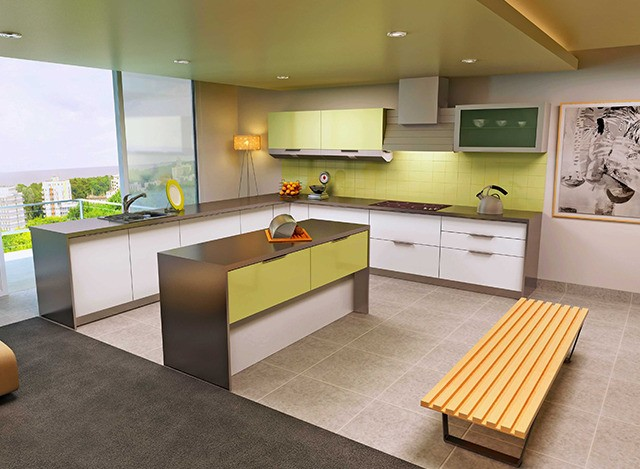 Acrylic Island Modular Kitchen by Myfurnituremyway