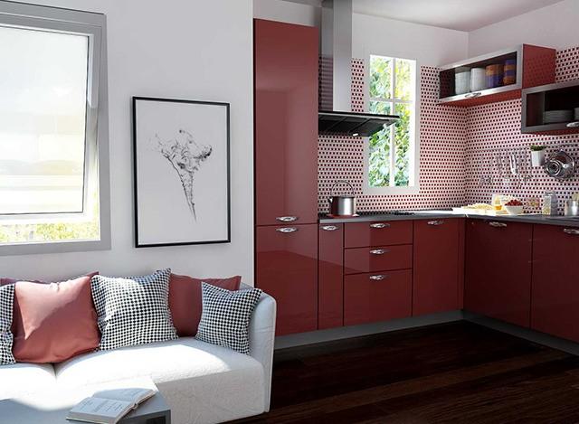 Acrylic L Shaped Modular Kitchen by Myfurnituremyway